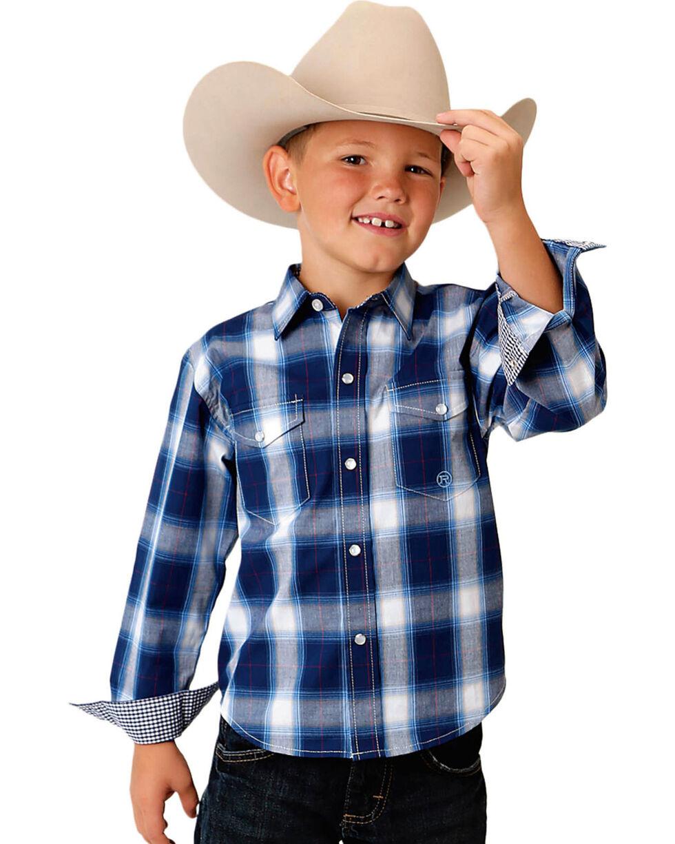 Roper Boys' Blue Amarillo Plaid Shirt , Blue, hi-res