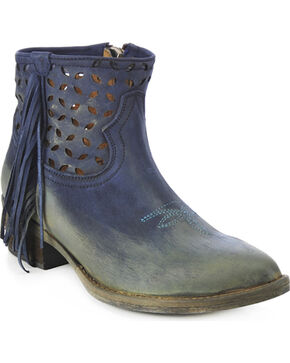 Circle G Women's Fringe Cut-Out Western Booties, Blue, hi-res