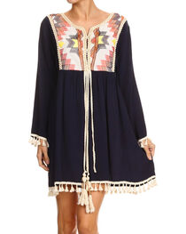 Freeway Apparel Women's Navy Embroidered Tassel Dress , , hi-res