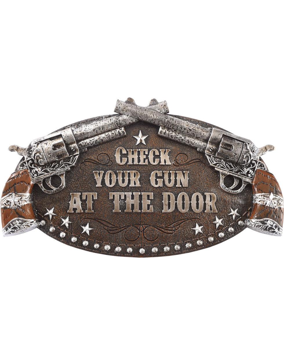 BB Ranch Check Your Gun Wall Sign, Brown, hi-res