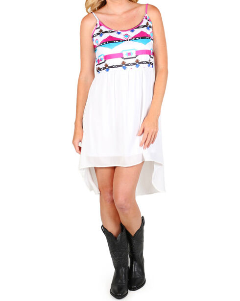 Rock & Roll Cowgirl Women's Aztec Summer Dress, White, hi-res