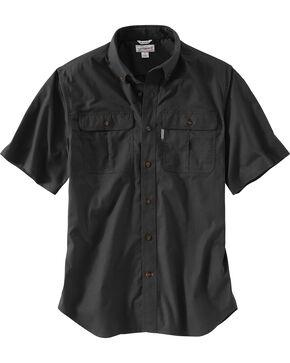 Carhartt Men's Foreman Short Sleeve Work Shirt, Black, hi-res