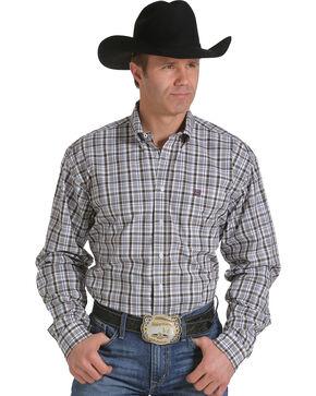 Cinch Men's Grid Plaid Long Sleeve Shirt, White, hi-res