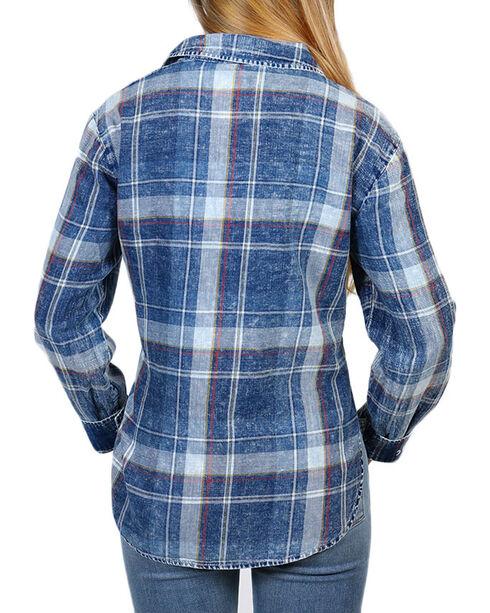 White Crow Women's Good Things Take Time Plaid Long Sleeve Shirt, Indigo, hi-res