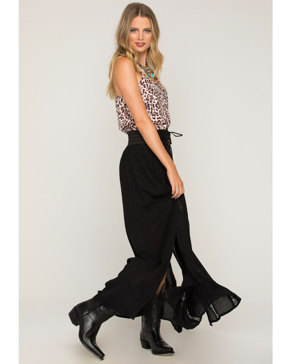Shyanne Women's Belted Lace Black Maxi Skirt, , hi-res