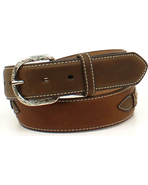 Nocona Men's Ribbon Knot Cowboy Prayer Concho Belt, Medium Brown, hi-res