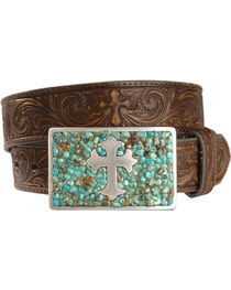 Nocona Belt Co. Women's Cross Belt and Buckle Set, , hi-res