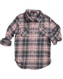 Derek Heart Girls' Pink Tab Sleeves Plaid Flannel Shirt, , hi-res
