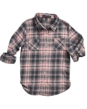 Derek Heart Girls' Pink Tab Sleeves Plaid Flannel Shirt, Pink, hi-res