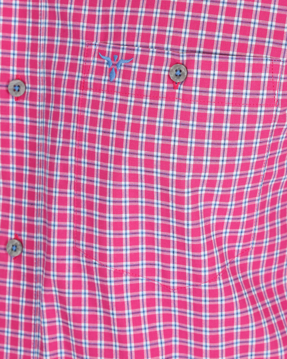 Wrangler Men's Pink Plaid 20X Competition Advanced Comfort Shirt , Pink, hi-res