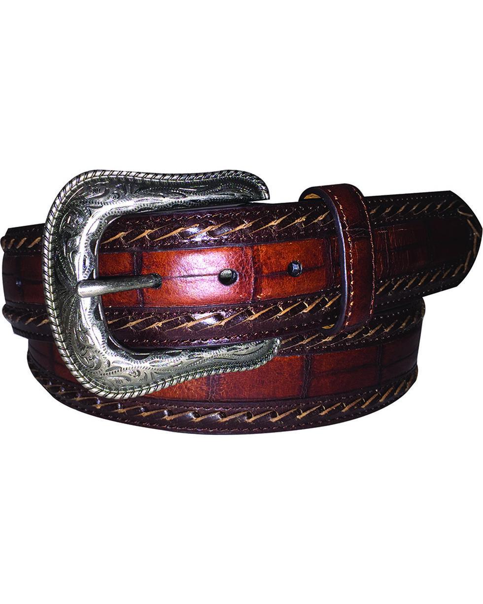 G Bar D Men's Brown Croc Print Belt, Brown, hi-res