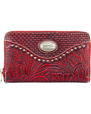 Montana West Trinity Ranch Wallet with Tooling and Basket Weave, Red, hi-res