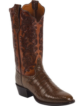 Tony Lama Men's Signature Crocodile Exotic Boots, Whiskey, hi-res