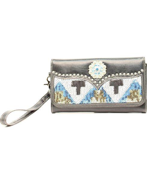 Blazin' Roxx Women's Sequin Aztec Wallet, Black, hi-res