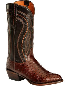 Lucchese Men's Montana Full Quill Ostrich Western Boots, Sienna, hi-res