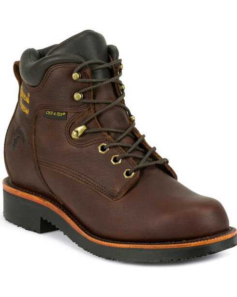 "Chippewa Men's 6"" Rich Oiled  Waterproof Lace Up Boots - Steel Toe, Walnut, hi-res"
