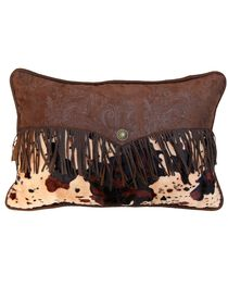 HiEnd Accents Caldwell Cowhide Fringed Pillow, , hi-res