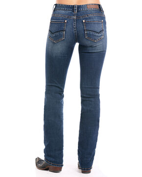 Rock & Roll Cowgirl Women's Curved V Straight Leg Jeans, Indigo, hi-res