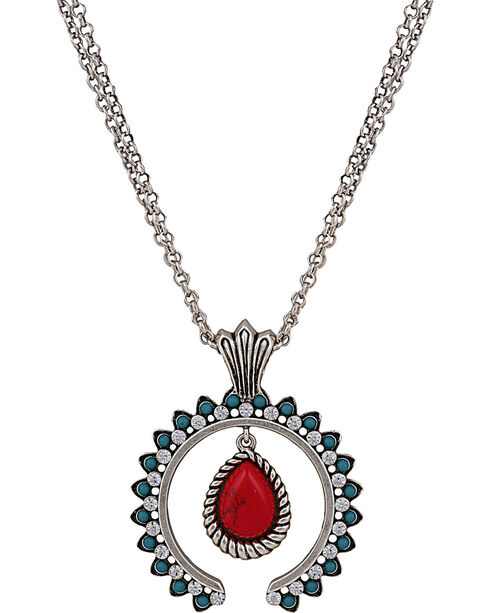 Wrangler Rock 47 Tribal Flair Red and Turquoise Squash Blossom Necklace, Red, hi-res