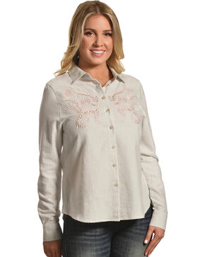 Shyanne Women's Embroidered Long Sleeve Flannel Shirt, Oatmeal, hi-res