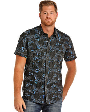 Rock & Roll Cowboy Men's Floral Short Sleeve Shirt, Blue, hi-res