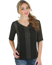 Wrangler Rock 47 Women's Half Sleeve Chiffon Top with Beading, , hi-res