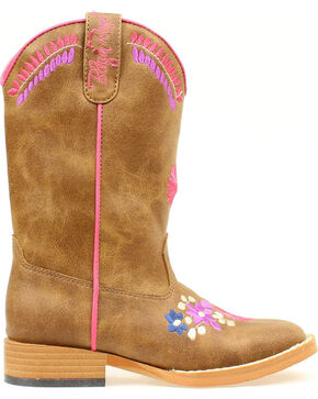 Blazin Roxx Youth Girls' Sashay Floral Embroidered Boots - Round Toe, Brown, hi-res