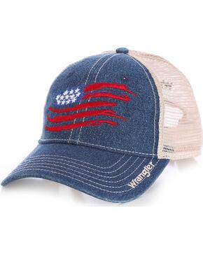 Wrangler Men's Mesh Back Flag Cap, Navy, hi-res