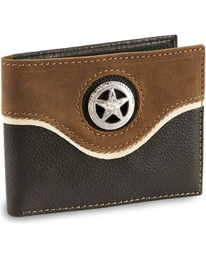 Nocona Star Concho Bi-Fold Leather Wallet, Black, hi-res