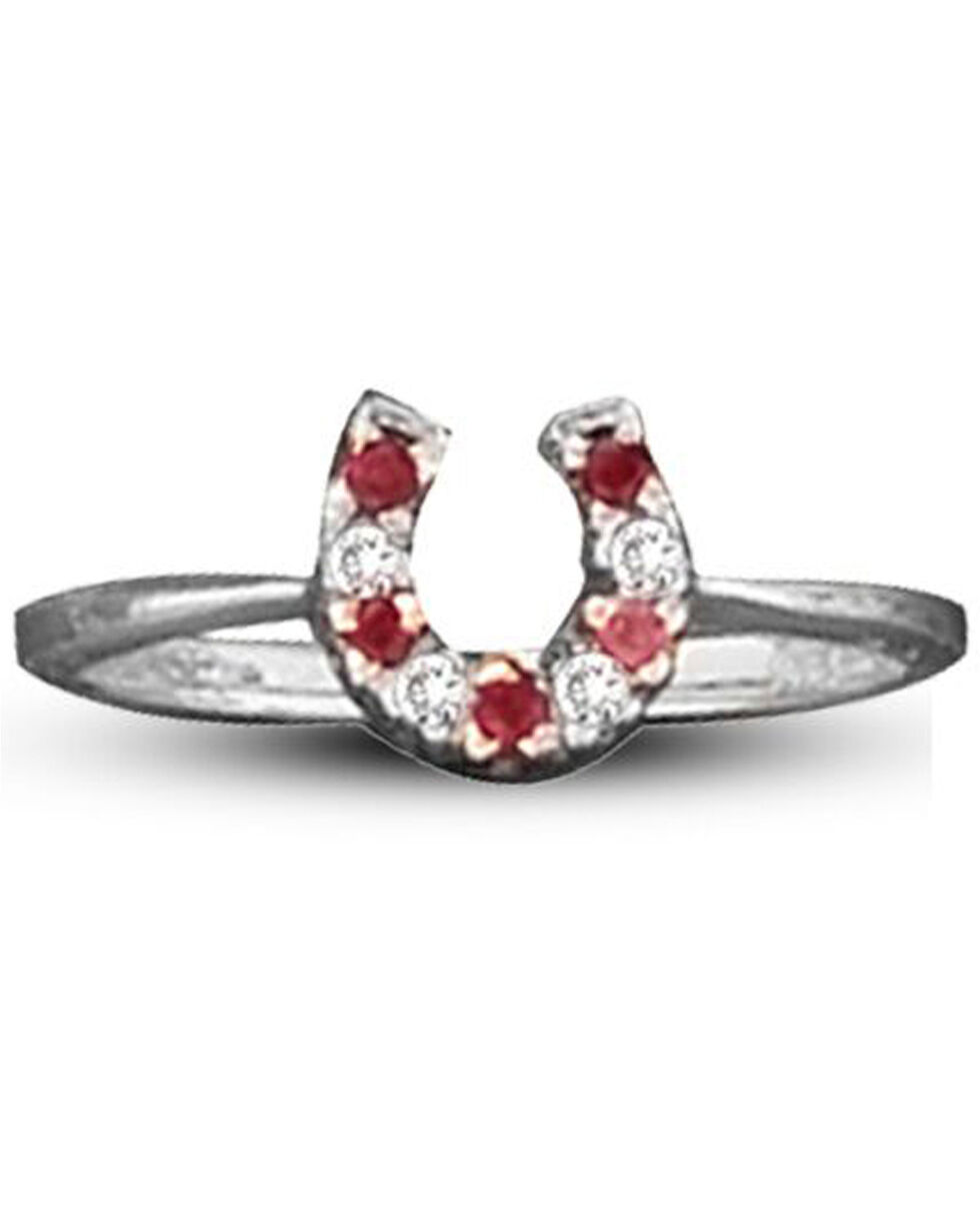 Kelly Herd Women's Red Small Horseshoe Ring , Red, hi-res
