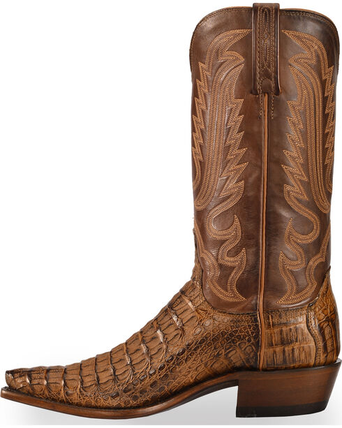 Lucchese Men's Walter Hornback Caiman Western Boots - Snip Toe , Tan, hi-res