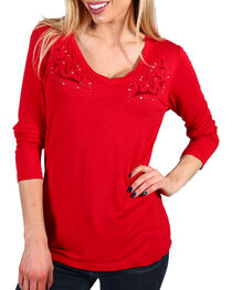 Ariat Women's Scroll Embroidered Long Sleeve Shirt, Dark Red, hi-res