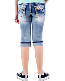 Grace in LA Girls' Faded Denim Capris, , hi-res