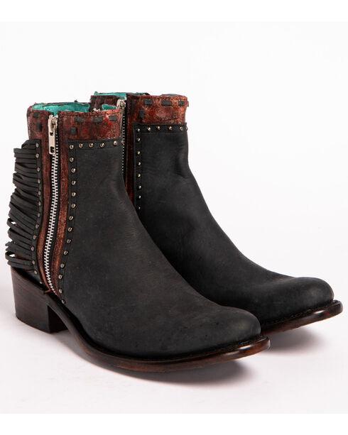 Corral Women's Shredded Booties, Black, hi-res