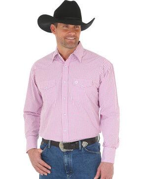 Wrangler George Strait Men's Poplin Plaid Snap Shirt - Big & Tall, Magenta, hi-res