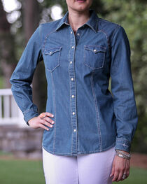 Ryan Michael Women's Denim Dot Print Shirt, , hi-res