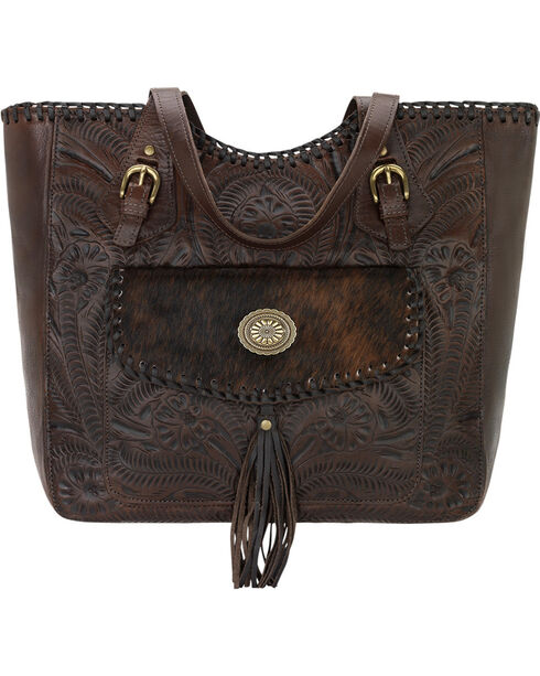 American West Annie's Secret Compartment Zip Tote, Brown, hi-res