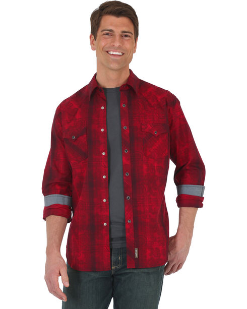 Wrangler Retro Men's Red Plaid with Overprint Long Sleeve Snap Shirt - Tall, Red, hi-res
