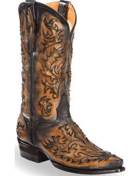 El Dorado Men's Black and Tan Inlay Cowboy Boots – Snip Toe , Black, hi-res