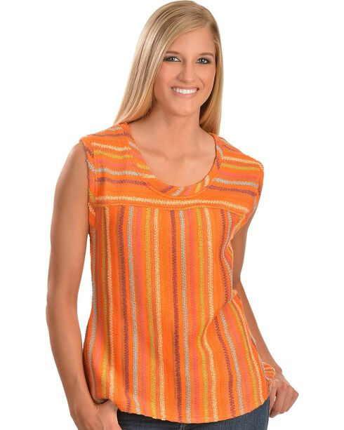 Cowgirl Up Orange Sleeveless Striped Top, Multi, hi-res