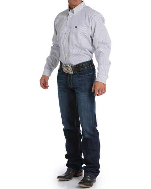 Cinch Men's White Striped Pattern Shirt , White, hi-res
