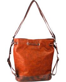 Treska Orange Tooled Drawstring Bucket Bag , , hi-res