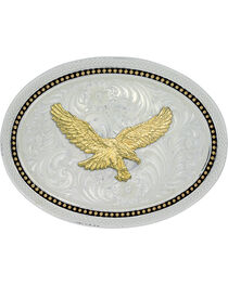 Montana Silversmiths Two Tone Wheat Gold Eagle Buckle, , hi-res