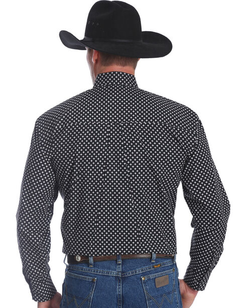 Wrangler Men's George Strait Black Printed Western Shirt , Black, hi-res