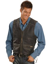 Interstate Leather Men's Crazy Horse Motorcycle Vest, Black, hi-res