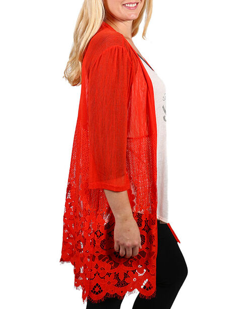 Forgotten Grace Women's Plus Lace Kimono , Coral, hi-res