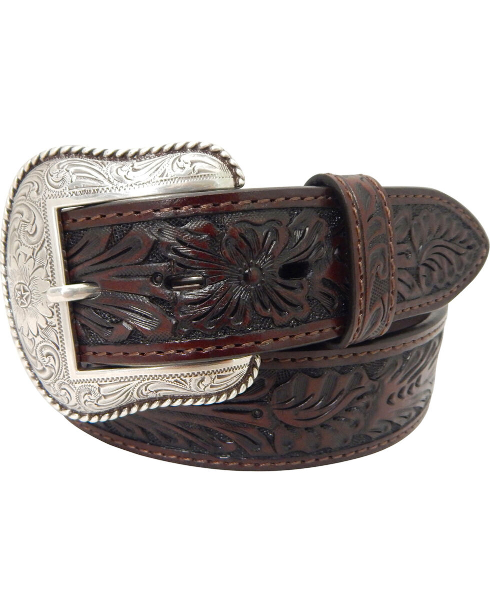 Roper Men's Hand-Tooled Floral Design Belt with Silver Buckle , Brown, hi-res