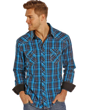 Rock & Roll Cowboy Men's Poplin Plaid Long Sleeve Shirt, Black, hi-res