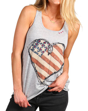 Bohemian Cowgirl Women's Flag Heart Racer Back Tank    , Grey, hi-res