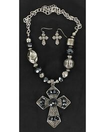 Blazin Roxx Navy Blue Beaded Cross Pendant Necklace & Earrings Set, , hi-res